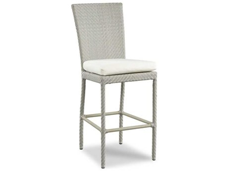 Woodbridge Furniture Outdoor Woven Floral Gray Aluminum Wicker Cushion Bar Stool PatioLiving