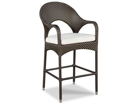 Woodbridge Furniture Outdoor Ventana Espressop Aluminum Wicker Cushion Bar Stool PatioLiving