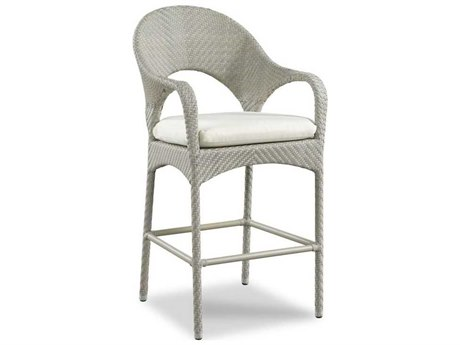 Woodbridge Furniture Outdoor Ventana Floral Gray Aluminum Wicker Cushion Bar Stool PatioLiving