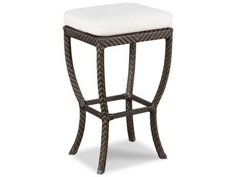 Woodbridge Furniture Outdoor Woven Espressop Aluminum Wicker Cushion Bar Stool PatioLiving