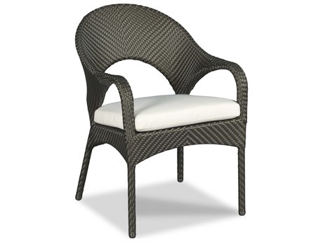 Woodbridge Furniture Outdoor Ventana Espresso Aluminum Wicker Cushion Dining Chair PatioLiving