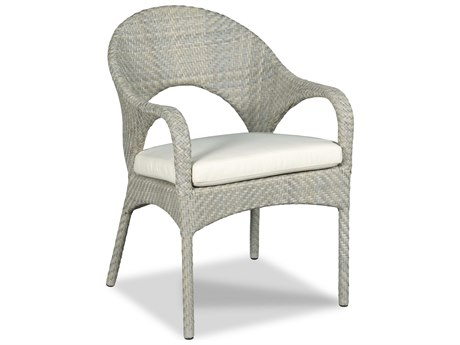 Woodbridge Furniture Outdoor Ventana Floral Gray Aluminum Wicker Cushion Dining Chair PatioLiving