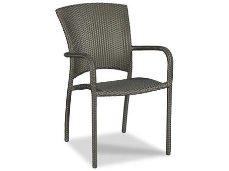 Woodbridge Furniture Outdoor Cafe Espresso Aluminum Wicker Dining Chair PatioLiving