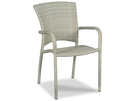 Woodbridge Furniture Outdoor Cafe Floral Gray Aluminum Wicker Dining Chair PatioLiving