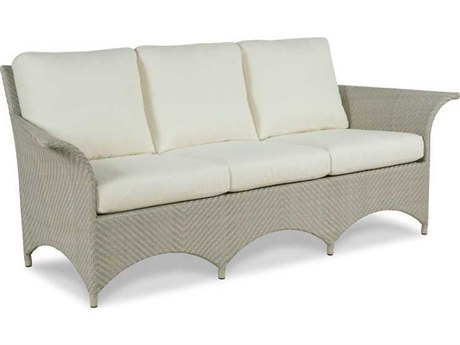 Woodbridge Furniture Outdoor Ventana Floral Gray Aluminum Wicker Cushion Sofa PatioLiving