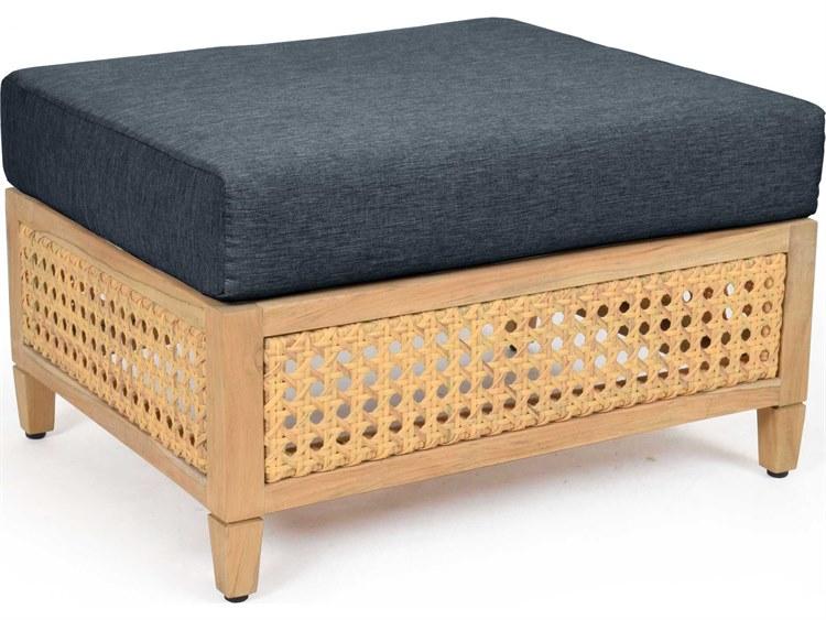 Woodbridge Furniture Outdoor Jupiter Natural Teak Cushion Ottoman