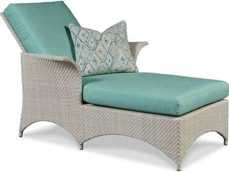 Woodbridge Furniture Outdoor Ventana Floral Gray Aluminum Wicker Cushion Chaise Lounge PatioLiving