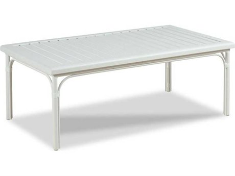 Woodbridge Furniture Outdoor Carlyle Cloud White 47'' Wide Aluminum Rectangular Coffee Table PatioLiving