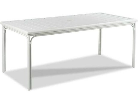 Woodbridge Furniture Outdoor Carlyle Cloud White 72'' Wide Aluminum Rectangular Umbrella Hole Dining Table PatioLiving