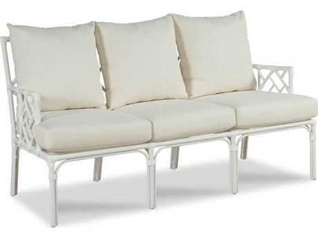 Woodbridge Furniture Outdoor Carlyle Cloud White Aluminum Cushion Loveseat PatioLiving