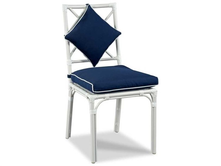 Woodbridge Furniture Outdoor Carlyle Cloud White Aluminum Cushion Dining Chair PatioLiving