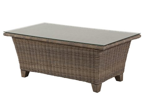 Windward Design Group Oxford Wicker 48 x 26 Rectangular Clear Glass Top Coffee Table