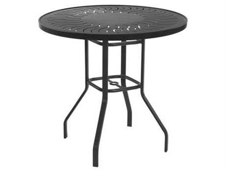 Windward Design Group Sunburst Punched Aluminum 36 Round Balcony Table with Umbrella Hole