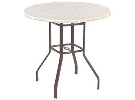 Windward Design Group Faux Stone Top Aluminum 36 Round Bar Table with Umbrella Hole