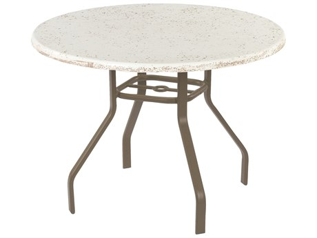 Windward Design Group Faux Stone Top Aluminum 36 Round Dining Table