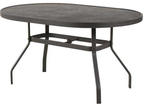 Windward Design Group Napa Punched Aluminum 54 x 36 Oval Bar Table