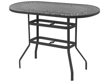 Windward Design Group Sunburst Punched Aluminum 54 x 36 Oval Bar Table