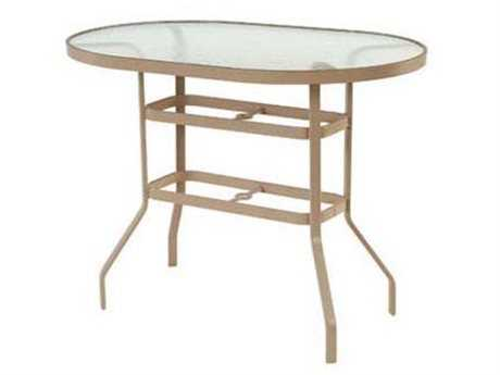 Windward Design Group Glass Top Aluminum 54 x 36 Round Balcony Table