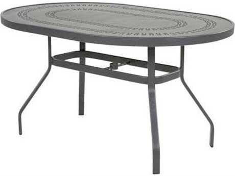 Windward Design Group Mayan Punched Aluminum 54 x 36 Oval Balcony Table with Umbrella Hole