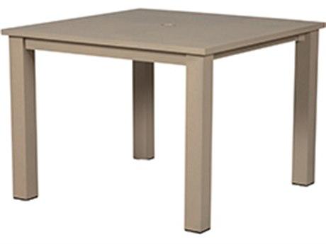 Windward Design Group Etched Top Aluminum 39''Wide Square Dining with Umbrella Hole