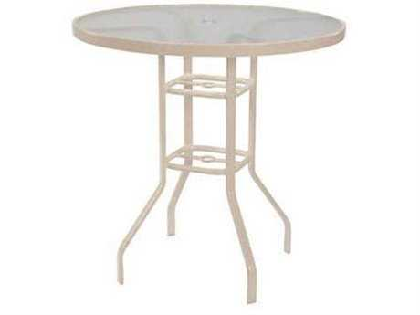 Windward Design Group Glass Top Aluminum 42 Round Balcony Table with Umbrella Hole