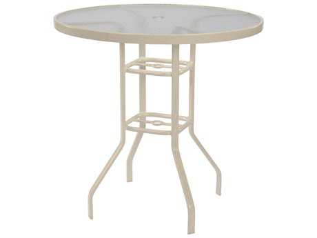 Windward Design Group Glass Top Aluminum 42 Round Bar Table with Umbrella Hole