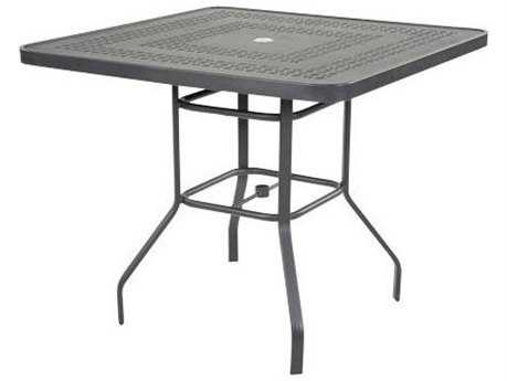 Windward Design Group Mayan Punched Aluminum 42 Square Bar Table with Umbrella Hole