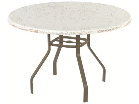 Windward Design Group Faux Stone Top Aluminum 42 Round Dining Table