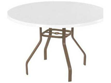 Windward Design Group Fiberglass Top Aluminum 42 Round Dining Table with Umbrella Hole