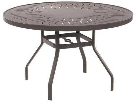 Windward Design Group Sunburst Punched Aluminum 42 Round Dining Table with Umbrella Hole