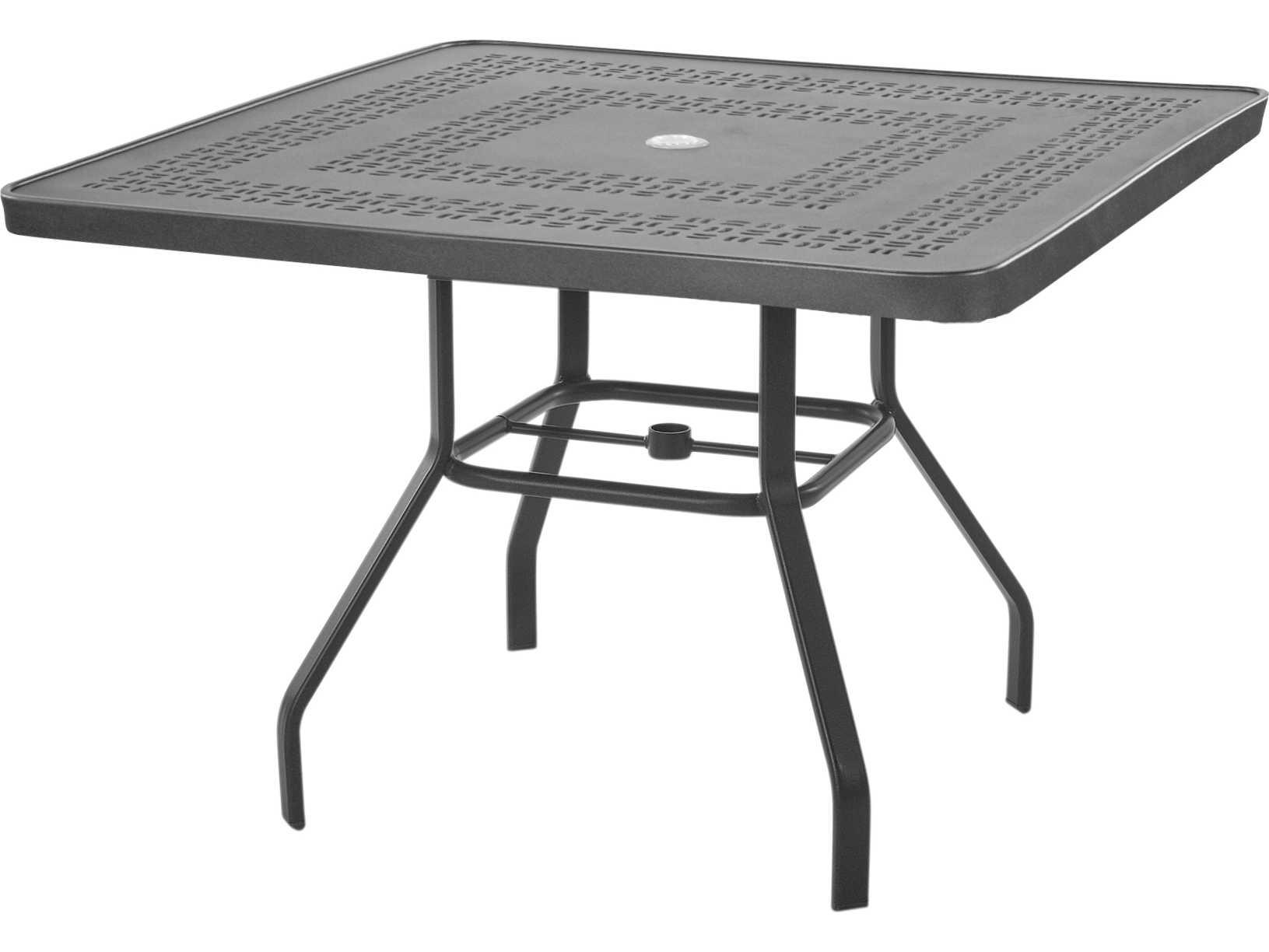 windward design group mayan punched aluminum 42 square dining table kd4218smyn. Black Bedroom Furniture Sets. Home Design Ideas