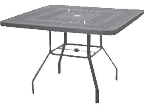Windward Design Group Napa Punched Aluminum 42 Square Dining Table with Umbrella Hole