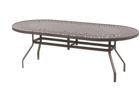 Windward Design Group Sunburst Punched Aluminum 76 x 42 Oval Dining Table