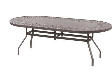 Windward Design Group Sunburst Punched Aluminum 76 x 42 Oval Dining Table with Umbrella Hole
