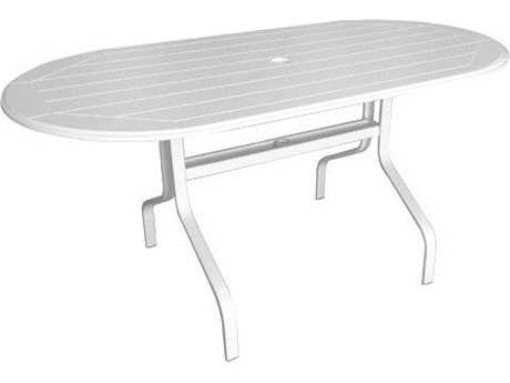 Windward Design Group Hartford Mgp Aluminum 76 x 42 Oval Dining Table with Umbrella Hole
