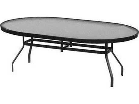 Windward Design Group Glass Top Aluminum 84 x 42 Oval Dining Table with Umbrella Hole