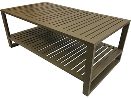 Windward Design Group Lido Aluminum 46''W x 26''D Rectangular Slat Coffee Table