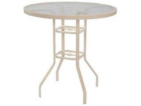 Windward Design Group Glass Top Aluminum 47 Round Balcony Table with Umbrella Hole