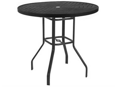 Windward Design Group Napa Punched Aluminum 47 Round Balcony Table with Umbrella Hole