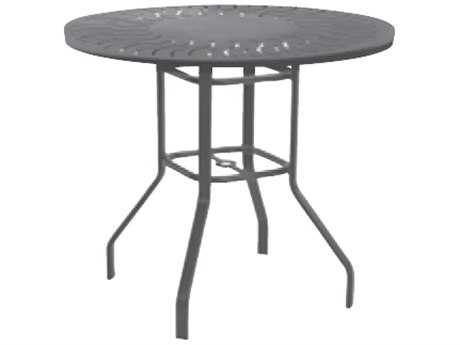 Windward Design Group Sunburst Punched Aluminum 47 Round Balcony Table with Umbrella Hole