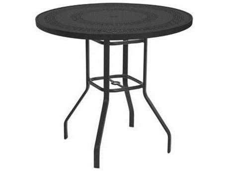 Windward Design Group Mayan Punched Aluminum 47 Round Bar Table with Umbrella Hole