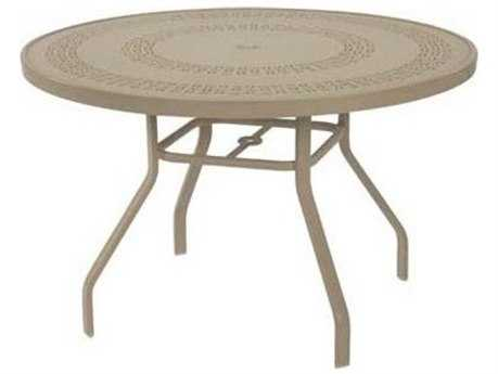Windward Design Group Mayan Punched Aluminum 47 Round Dining Table with Umbrella Hole