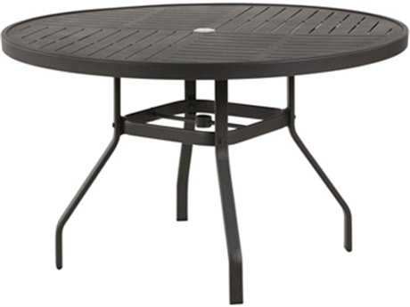 Windward Design Group Napa Punched Aluminum 47 Round Dining Table with Umbrella Hole