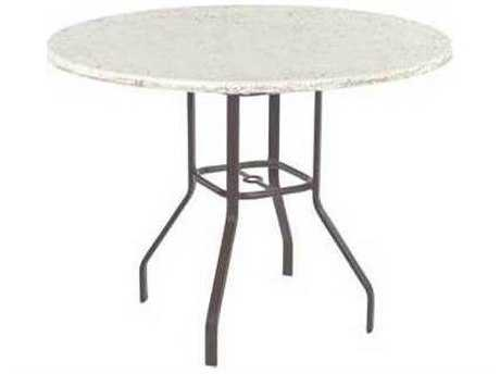 Windward Design Group Faux Stone Top Aluminum 48 Round Balcony Table with Umbrella Hole