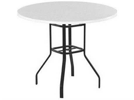 Windward Design Group Fiberglass Top Aluminum 48 Round Balcony Table with Umbrella Hole