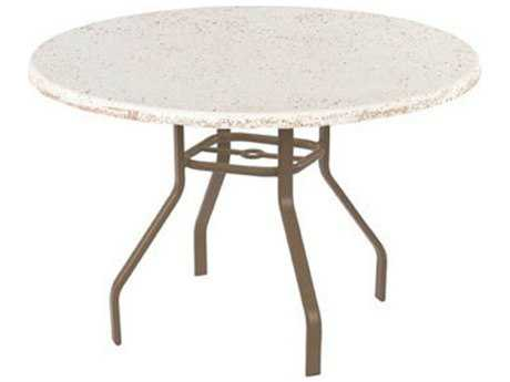 Windward Design Group Faux Stone Top Aluminum 48 Round Dining Table with Umbrella Hole