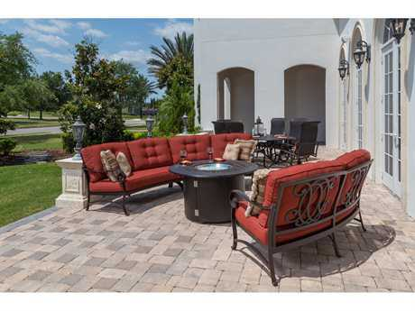 Windward Design Group Versailles Deep Seating Cast Aluminum Fire Pit Sectional Set