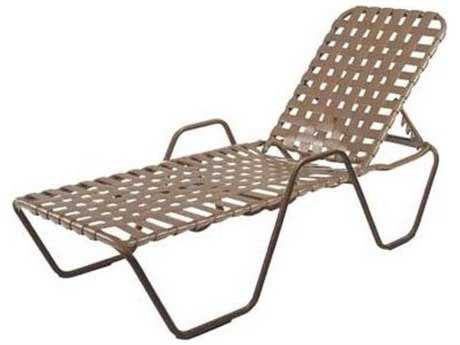 Windward Design Group Country Club Strap Aluminum Skids Chaise Lounge with Arms Cross Weave