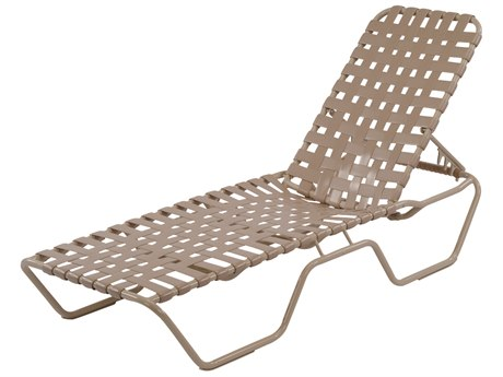 Windward Design Group Country Club Strap AluminumSkids Chaise Lounge Cross Weave