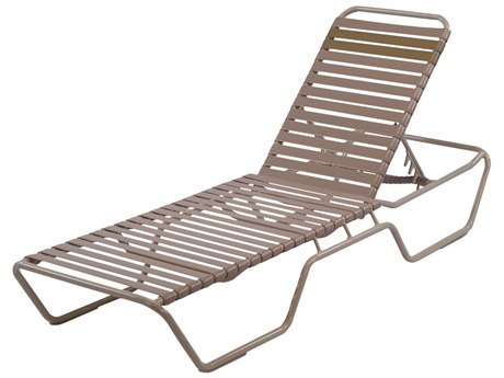 Windward Design Group Country Club Strap Aluminum Skids Chaise Lounge with Extended Bed